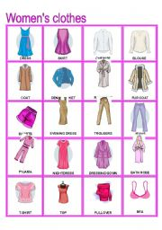 English Worksheet: Women´s Clothes Pictionary (Part B)