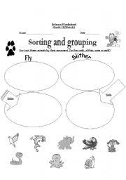 English Worksheets: sorting and grouping
