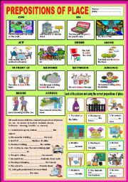 English Worksheet: Prepositions of place - On, In,At, Under, Above, In front of, Behind, Between, Among, Beside and Across.