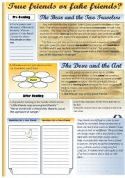 English Worksheet: AESOP´S FABLES - TRUE FRIENDS OR FAKE FRIENDS?reading comprehension for upper-intermediate and advanced students