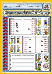English Worksheets: WHEN ARE THEIR BIRTHDAYS?