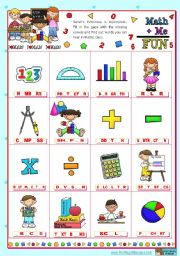 Classroom objects and symbols Set  (1)  - Vocabulary related to Mathematics