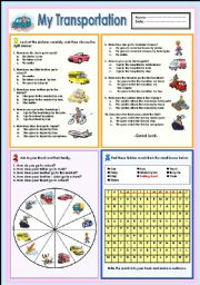 English Worksheet: My Transportation