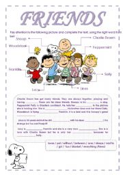 English Worksheet: Charlie Brown�s friends ( two pages)