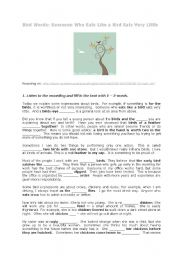 English Worksheets: listening: words and their stories: birds words