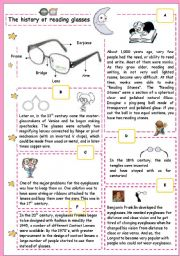 English Worksheet: The history of reading glasses
