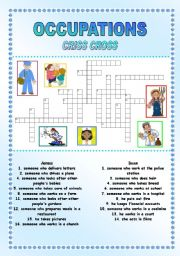 English Worksheets: Occupations - Criss cross + ANSWER KEY