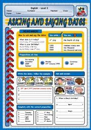 English Worksheet: ASKING AND SAYING DATES