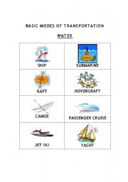 English worksheets: Basic Modes Of Transportation Chart (Water)