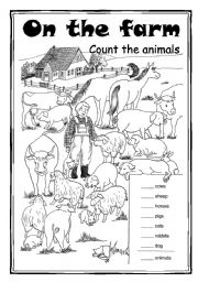 English Worksheet: On the farm - Count the animals