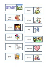 irregular verbs domino worksheets. Black Bedroom Furniture Sets. Home Design Ideas