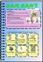 English Worksheets: Can, can�t expressing ability, 4 pages