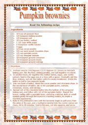 English Worksheets: Pumpkin brownie (4 pages - with answer key)