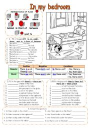 English Worksheet: In my bed room (THERE IS/THERE ARE)