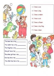 English Worksheets:  I have a ...
