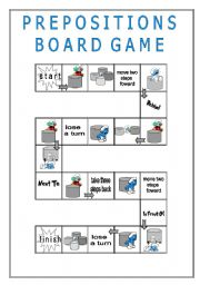 English Worksheet: Prepositions - GAME BOARD