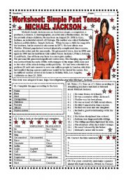 English Worksheet: Worksheet: Simple Past Tense (Michael Jackson) - 4 pages