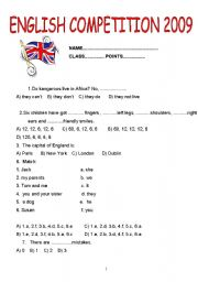 English comprehension worksheets for year 11