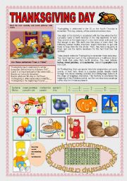 English Worksheet: THANKSGIVING DAY WITH THE SIMPSONS