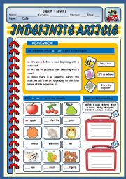 English Worksheet: INDEFINITE ARTICLE