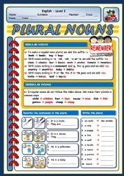 English Worksheet: PLURAL NOUNS (regular and irregular)