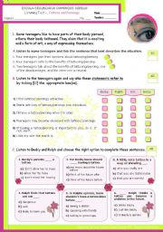 English Worksheet: Listening worksheet on fashion/trends -Tattoes and piercings