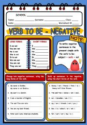 English Worksheet: VERB TO BE 1