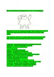 English Worksheets: Merry Christmas and Happy New Year reading research writing