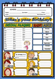 English Worksheet: WHEN�S YOUR BIRTHDAY?
