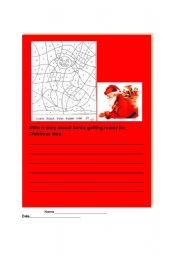 English Worksheets: santa is busy writing assignment and activity page