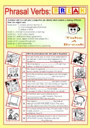 English Worksheet: Phrasal verbs (8/10): BREAK