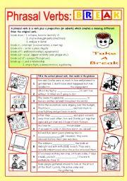 English Worksheets: Phrasal verbs (8/10): BREAK