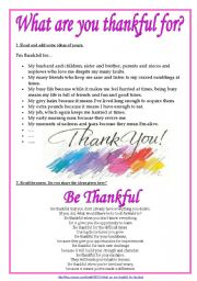 What Are You Thankful For Worksheet - That Resource Site