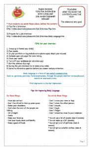 English Worksheet: TIPS FOR INTERVIEW, BODY LANGUAGE, JOB ADVERTISEMNET and R�SUM�