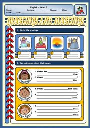 English Worksheet: GREETINGS AND NAMES/SURNAMES