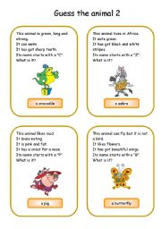 English Worksheet: Animals card game 2