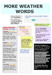 more weather words technical words weather relating idioms all 3 previous weather worksheets. Black Bedroom Furniture Sets. Home Design Ideas