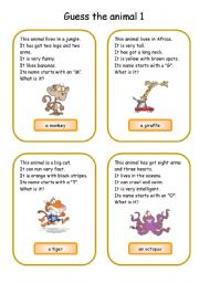 English Worksheet: Animals card game 1