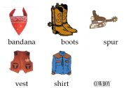 Flashcards or Picture dictionary: Cowboys & Indians (clothes)