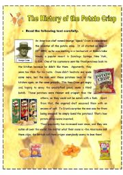 English Worksheets: The History of the Potato Crisp - 2 pages + key