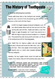 English Worksheets: The history of toothpaste - 2 pages + key