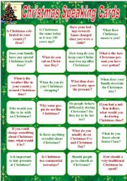 English Worksheet: Christmas Speaking Cards