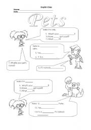 English Worksheets: Pets - Have you got a pet ? What�s your pet�s name?