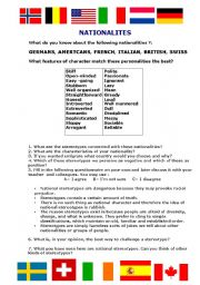 English Worksheet: Speaking Activity - National Stereotypes