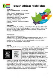English Worksheet: SOUTH AFRICA HIGHLIGHTS