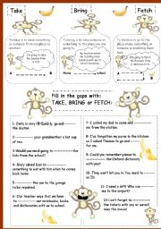 English Worksheets: Take, bring or fetch?