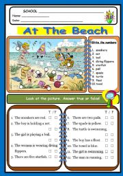 English Worksheets: at the baech
