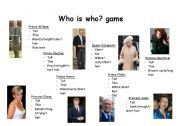 English Worksheet: Who is who game? - british royal family (part 2)