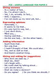 English Worksheet: First Certificate - Phrases for paper 5 (speaking)
