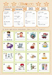 English Worksheet: The verb Can